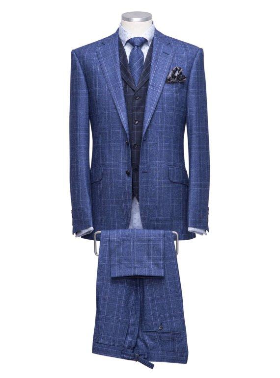 Blauw kostuum op maat met ruit voor heren