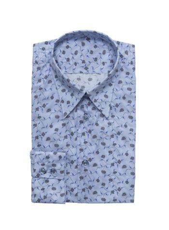 blauw hemd met bloemenprint op maat gemaakt
