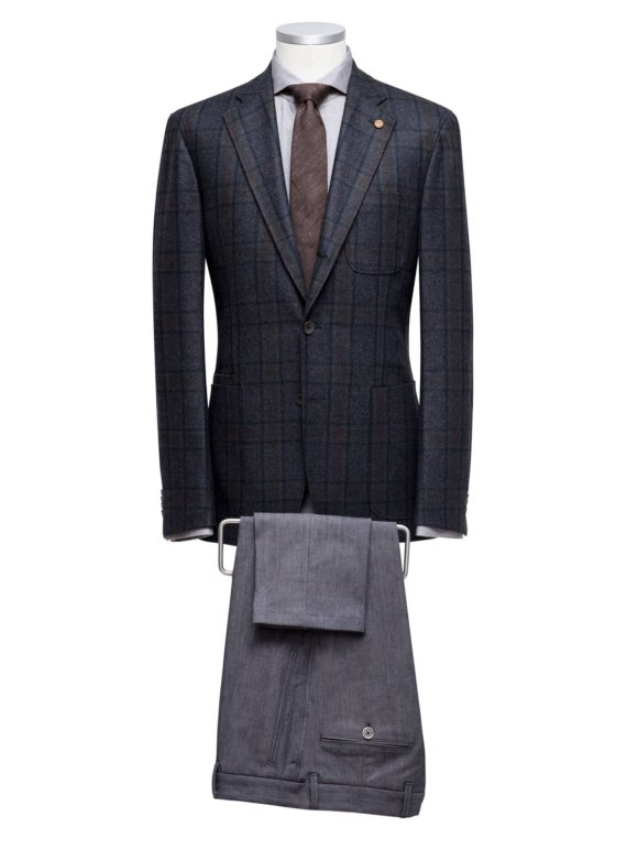 Donkergrijs geruit kostuum op maat voor heren