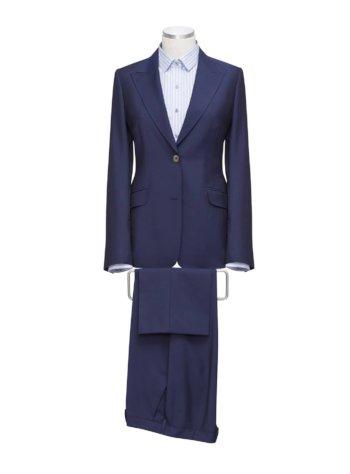 Blauw Dameskostuum met broek & hemd op maat