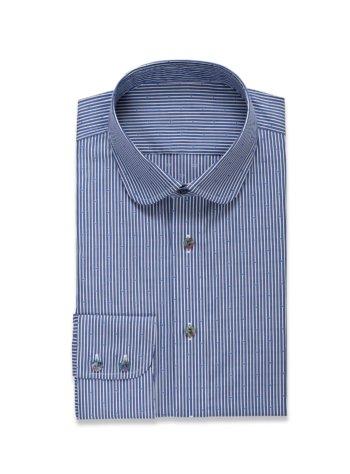 Blauw hemd met fijne strepen op maat gemaakt