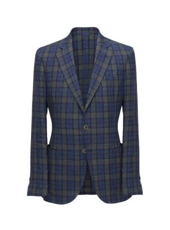 Blauwe geruite colbert jas op maat voor heren