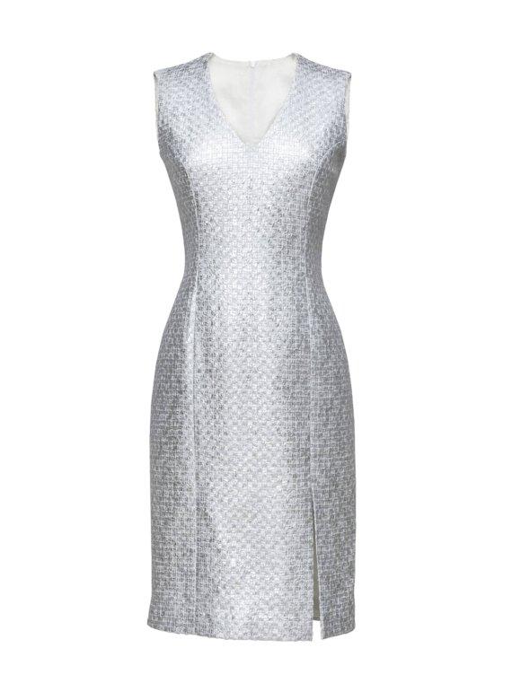 Grijze feestelijke jurk op maat gemaakt