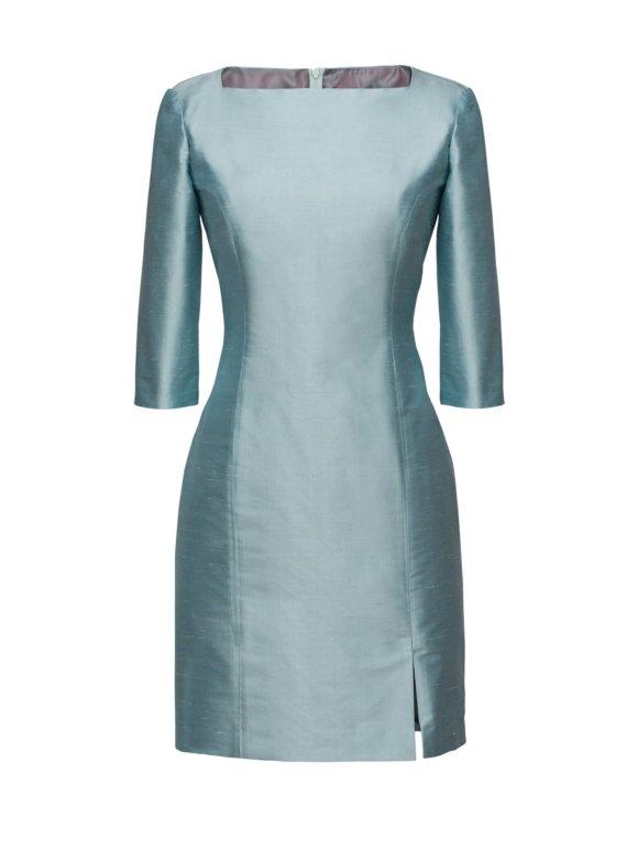 Turquoise feestelijke jurk op maat gemaakt