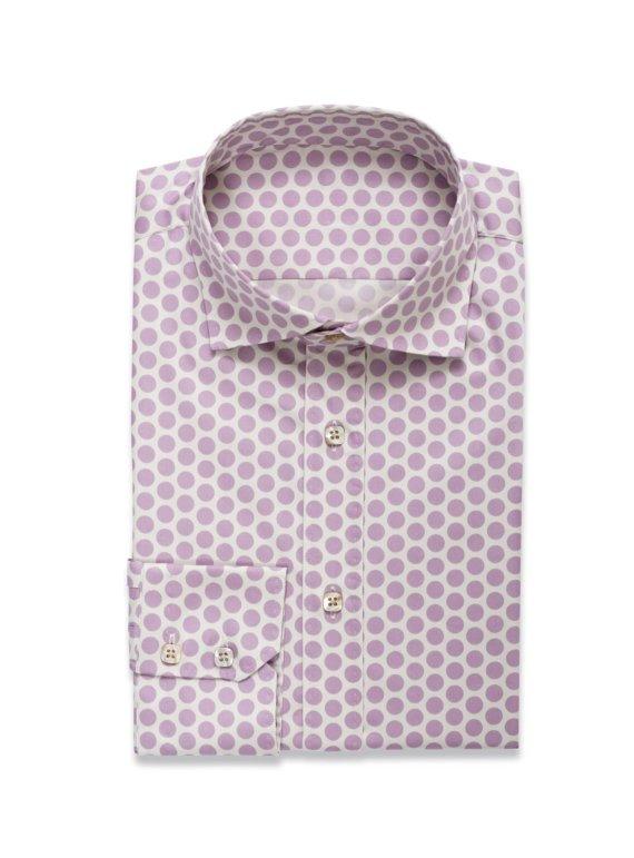 Wit Hemd met Paarse Bollen voor mannen op maat
