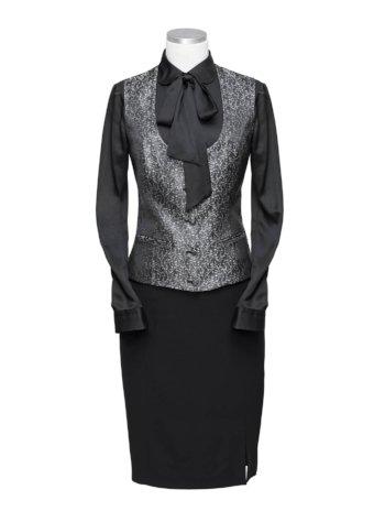 Zwarte damespak met rok & gilet