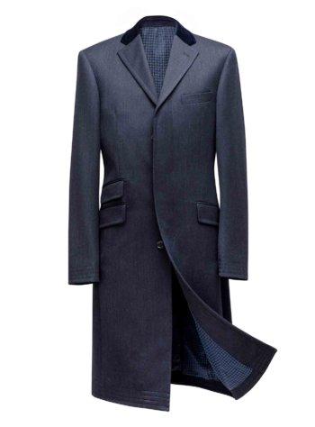 Donkerblauwe Overjas met kasjmier (enkele rij knopen)